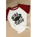 WINO Dinosaur Printed Color Block Raglan Short Sleeve Round Neck Tee