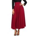 Elegant Plain Tied Back Maxi A-Line Skirt