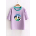 Letter Cow Printed Contrast Round Neck Short Sleeve Tee