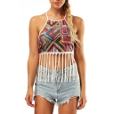 Crisscross Back Geometric Printed Sleeveless Crop Cami with Tassel