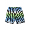 Classic Blue and Black Rhomboid Plaids Swim Trunks with Hook and Loop Pockets without Lining