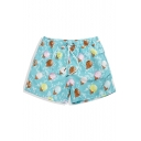 Neon Bright Blue Drawcord Ice Cream Print Swim Trunks Shorts for Guys with Liner
