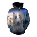 Amazed Cat Cloud Pattern Long Sleeve Pocket Hoodie for Couple