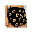 Sun Flower Printed Elastic Waist Pom Pom Embellished Hem Shorts