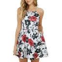 Rose Printed Spaghetti Straps Sleeveless Hollow Out Back Mini A-Line Dress