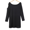 Hollow Out Detail Round Neck Long Sleeve Plain Mini Shift Dress