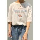 Rose Club Half Sleeves Round Neck Graphic Tee