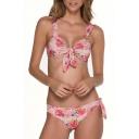 Rose Printed Sleeveless Tied Front Bikini