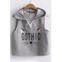 GOTHIC Letter Cat Pattern Printed Sleeveless Crop Hooded Tank