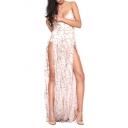 Sexy Sequined Embellished Spaghetti Straps Sleeveless Split Side Maxi Party Dress