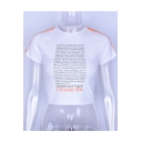 CHOOSE LIFE Letter Printed Contrast Braid Embellished Round Neck Short Sleeve Crop Tee
