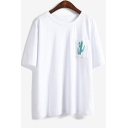 Cactus Letter Printed Pocket Round Neck Short Sleeve Tee