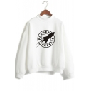 Leisure High Neck Long Sleeve Rocker Letter Printed Sweatshirt