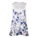 Crochet Embellished Floral Printed Sleeveless Mini A-Line Dress