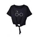 Glasses Printed Round Neck Short Sleeve Tied Hem Tee