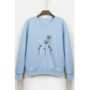 Dandelion Embroidered Round Neck Long Sleeve Sweatshirt