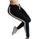 Color Block Drawstring Waist Skinny Sports Leggings