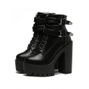 Buckle Punk Shoes Platform High Heels Ankle Boots Shoes