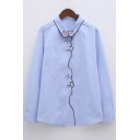 Cat Pattern Embroidered Lapel Collar Long Sleeve Buttons Down Shirt