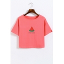 Watermelon Letter Printed Round Neck Short Sleeve Crop Tee
