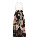 Spaghetti Straps Sleeveless Lace Patchwork Floral Printed Split Front Maxi Asymmetric Hem Dress