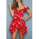 Off The Shoulder Short Sleeve Floral Printed Mini Asymmetric Hem Dress