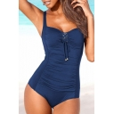 Lace Up Front Sleeveless Plain One Piece Swimwear