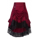 Lace Insert Buttons Embellished Ruched Detail Maxi Asymmetric Skirt