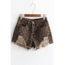 Cut Out Detail Leopard Printed Zipper Fly Hot Pants Denim Shorts