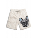 Big Men's Elastic Drawstring Quick Dry Puppy Dog Print Trunks Bathing Suits