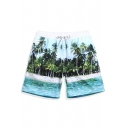 Mens Blue Beach Palm Print Swim Shorts Trunks with Mesh Lined Pockets