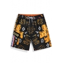 Retro Big Mens Black Elastic Fashion Print Swim Trunks without Lining
