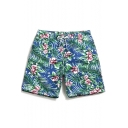 Classic Quick Dry Mens Blue Floral Leaf Pattern Swim Trunks without Mesh Brief