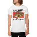 CAT BUS Letter Cat Japanese Printed Round Neck Short Sleeve Tee