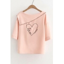 Letter Heart Embroidered Boat Neck Short Sleeve Blouse