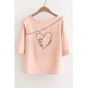Letter Heart Embroidered Boat Neck Short Sleeve Blouse
