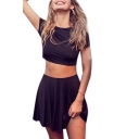 Basic Plain Round Neck Short Sleeve Crop Tee with Mini A-Line Skirt Co-ords