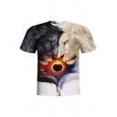 3D Lion Sunset Printed Round Neck Short Sleeve Tee