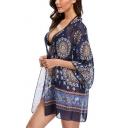 Collarless Tribal Printed Long Sleeve Tunic Kimono