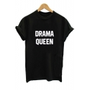 DRAMA QUEEN Letter Printed Round Neck Short Sleeve Tee