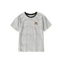 Lovely Embroidered Round Neck Short Sleeve Striped Tee