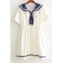 Cat Embroidered Tie Contrast Navy Collar Short Sleeve Mini A-Line Dress