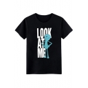 LOOK AT ME Letter Cartoon Printed Round Neck Short Sleeve Tee