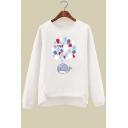 Cute Cartoon Whale Printed Round Neck Long Sleeve Sweatshirt