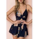 Floral Printed Spaghetti Straps Hollow Out Back Romper