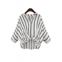 V Neck Lapel Collar Striped Long Sleeve Twist Hem Loose Shirt
