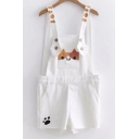 Cute Cat Printed Pocket Straps Sleeveless Loose Overall Romper