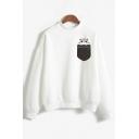 Hamsters Pocket Printed High Neck Long Sleeve Sweatshirt