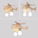 2 Lights Helicopter Lighting Fixture Kindergarten Wooden Decorative Chandelier Lamp in Green/Gray/White
