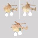 2 Lights Helicopter Lighting Fixture Kindergarten Wooden Decorative Chandelier Lamp in Green/Gray/White